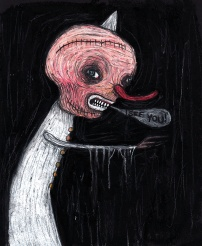 """""""The Observer"""" by Mia Makila, 2010. Oil pastels on black paper."""